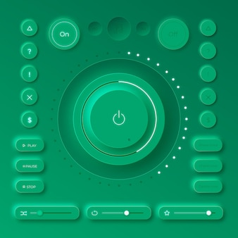 Elementy Interfejsu Użytkownika Projektowania Neumorficznego Premium Wektorów