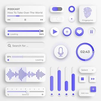 Elementy interfejsu użytkownika. suwaki do stron internetowych, menu mobilnego, nawigacji i aplikacji. białe przyciski internetowe i suwaki interfejsu użytkownika. interfejs do sterowania wideo i muzyką.