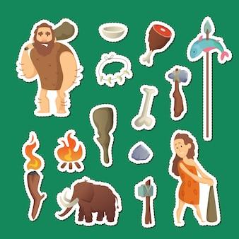 Elementy jaskiniowe ludzi. jaskiniowcy kreskówka naklejki zestaw ilustracji