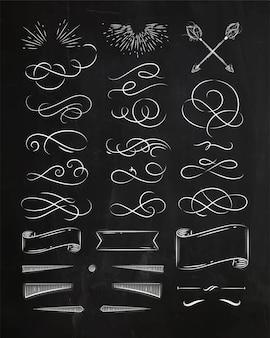 Elementy kaligraficzne w stylu vintage grafiki rysunkowej kredą na tle tablicy
