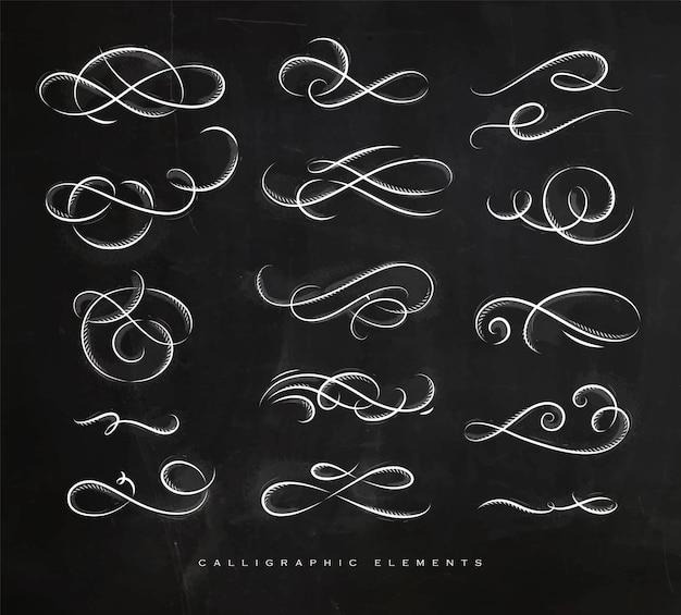 Elementy kaligraficzne w stylu vintage, rysunek kredą na tle tablicy