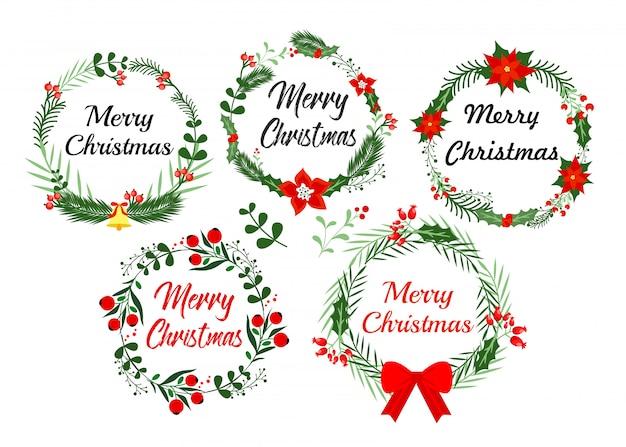 Elementy kartkę z życzeniami nowego roku. wieniec świąteczny z zimowym kwiatowym wzorem ilustracja w stylu płaski.