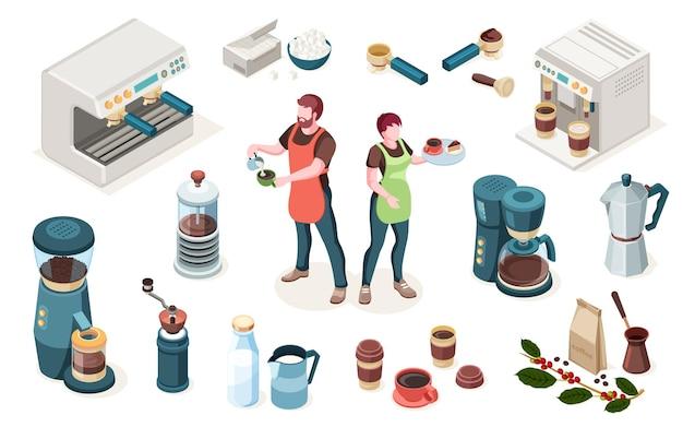 Elementy kawiarni kawiarnia lub kawiarnia sprzęt baristy i narzędzia izometryczne ikony man