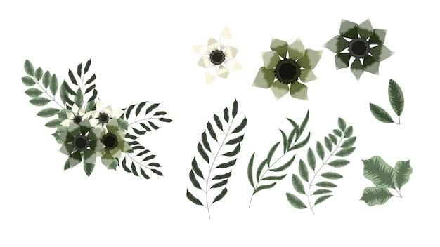 Elementy kolekcji kwiatów na białym tle kwiaty winorośli elementy projektu