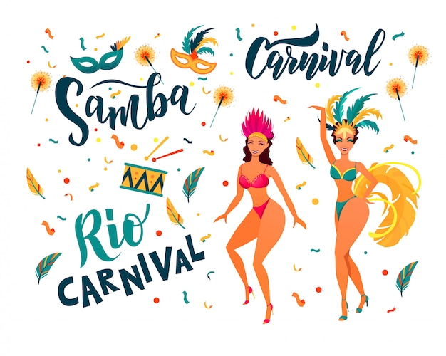 Elementy kolorowe partii brazylijskiego karnawału. samba, karnawał ręcznie napisany tekst. tancerze rio de janeiro w stroju festiwalowym.