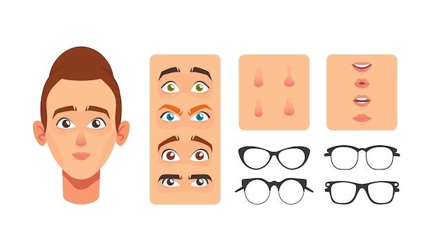 Elementy konstruktor twarz kobiety, tworzenie avatar. kaukaska postać kobieca budowa twarzy nos, oczy, brwi