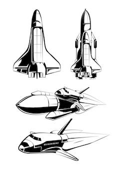 Elementy kosmiczne na etykiety wektorów vintage astronautów. rakieta kosmiczna, nauka o technologii, ilustracja promu startowego