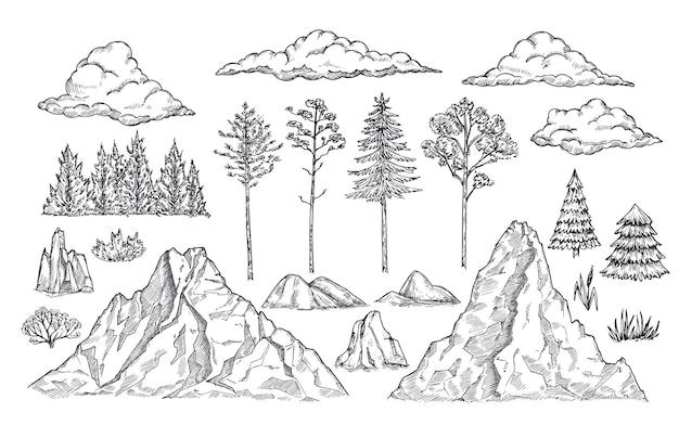 Elementy krajobrazu przyrody. zamontuj skały, drzewa i krzaki. naszkicuj na białym tle sylwetki parku, ogrodu lub lasu. ręcznie rysowane góry wektor zestaw. ilustracja skalny szkic, krajobraz górski