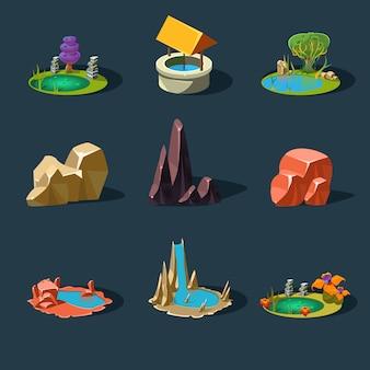 Elementy krajobrazu, skały, studnia, wodospad, jezioro, ilustracja
