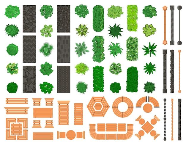 Elementy krajobrazu zewnętrznego. architektoniczne, krajobrazowe drzewa w parku miejskim, ławki, ścieżki, stoły i krzesła