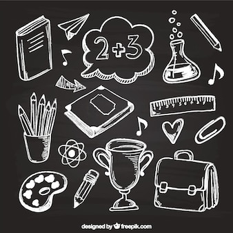 Elementy kreatywne szkoły w stylu tablica