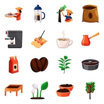 Elementy kreskówek produkcji kawy. zestaw elementów ziaren kawy i produkcji procesowej.