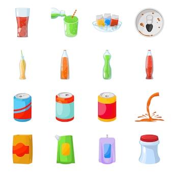 Elementy kreskówka butelka sody. zestaw elementów napoju gazowanego i musującego. odosobniona ilustracja napój.