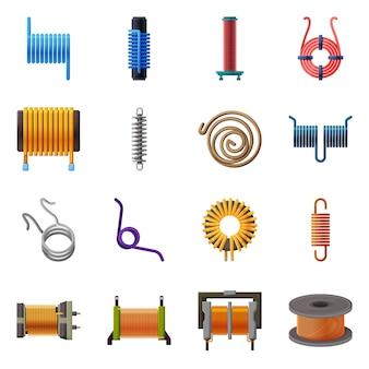 Elementy kreskówka cewki metalowe. zestaw elementów cewki do urządzeń elektrycznych. ilustracja na białym tle spirala szczegół.