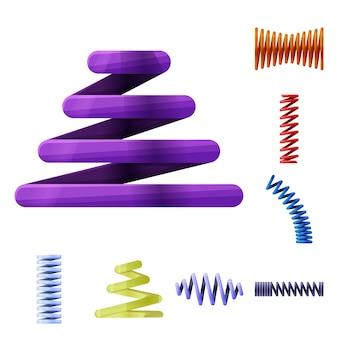 Elementy kreskówka spirala wiosna. zestaw elementów elastycznych cewek. ilustracja na białym tle cewek spiralnych.