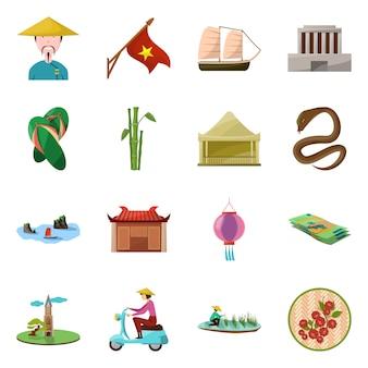 Elementy kreskówka wietnam kraju. ustaw elementy orientacyjny kultury kraju wietnamskiego.