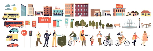 Elementy kreskówki miejskiego miasta: ludzie, dekoracja parku, budynek, transport pojazdów i steruj billboardy reklamowe i szyldy na białym tle. płaska ilustracja wektorowa