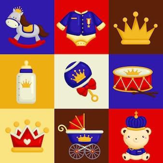 Elementy książki baby prince w kompozycji kwadratowej