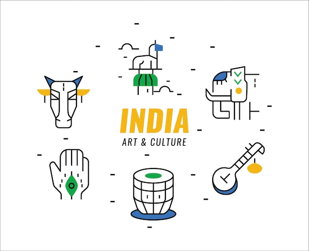 Elementy kultury i sztuki indii. cienkie elementy linii.