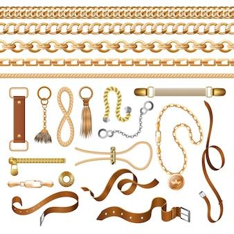 Elementy łańcucha i paska. złoty warkocz skórzany pasek i meble, modne elementy ozdobne.