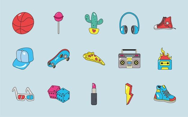 Elementy lat 80. naszywki ustawiają ikony
