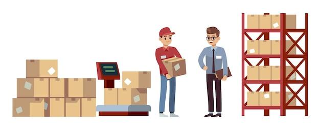 Elementy magazynowe. operacje, akceptacja i przenoszenie towarów, beżowe pudełko kartonowe zamknięte na drewnianych paletach, mężczyźni na składowaniu ładunku, przesyłka przemysłowa płaski wektor kreskówka zestaw