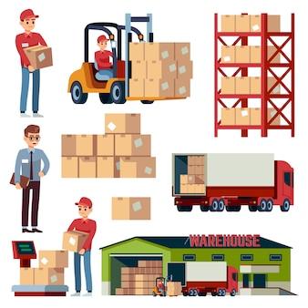 Elementy magazynowe. transport logistyczny i wózek widłowy, ciężarówka dostawcza. zestaw ładujący z pudełkami kreskówki