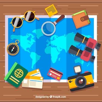 Elementy mapy i podróży o płaskiej konstrukcji