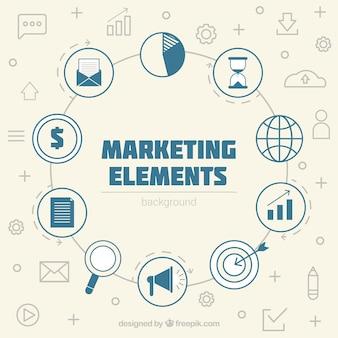 Elementy marketingu tło w stylu płaski