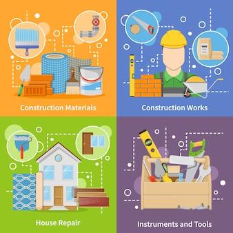 Elementy materiałów budowlanych i zestaw znaków