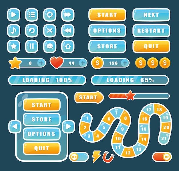 Elementy menu aplikacji nawigacyjnej kreskówka