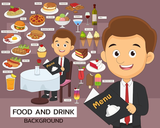 Elementy menu i ilustracje dotyczące jedzenia i napojów