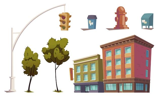 Elementy miejskiego krajobrazu z budynkami mieszkalnymi, sygnalizacją świetlną, hydrantem przeciwpożarowym, koszem na śmieci i skrzynką pocztową.