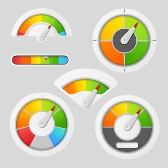 Elementy miernika wykresu wskaźnikowego. deska rozdzielcza wskazuje, wskaźnik panelu, miernik, ilustracja wektorowa