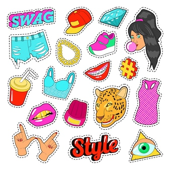 Elementy mody swag z rękami, ustami i ubraniami na naklejki, odznaki, naszywki. doodle wektor