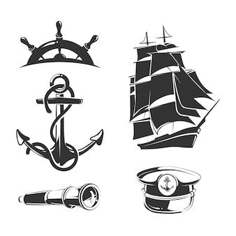 Elementy morskie do klasycznych etykiet. etykieta kotwicy, odznaka żeglarska, statek morski, ilustracja łodzi morskich insygnia