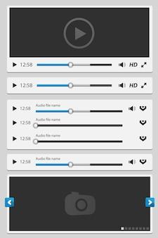 Elementy multimedialne ustawione na biały