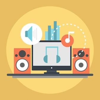 Elementy muzyki na żółtym tle