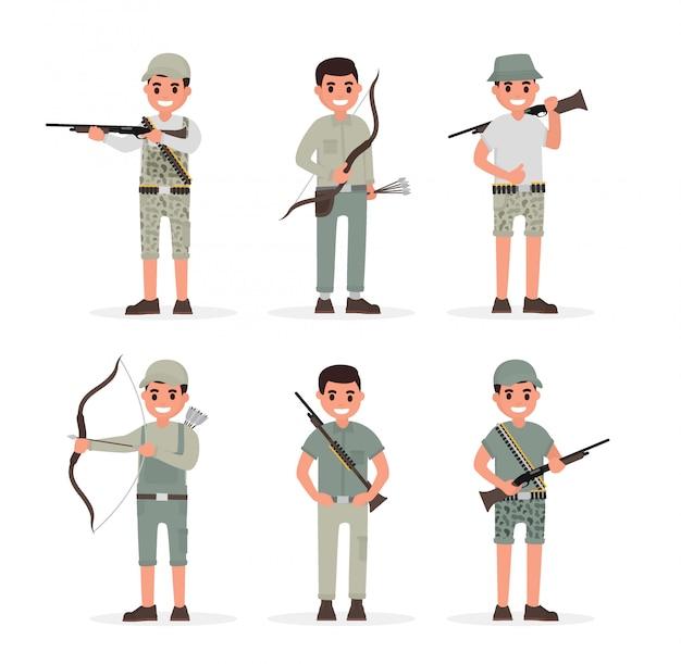 Elementy myśliwego, myśliwego, strażnika, leśniczego i łucznika