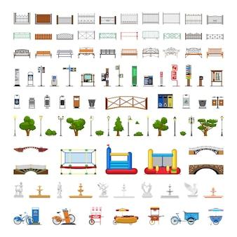 Elementy na zewnątrz parku miejskiego