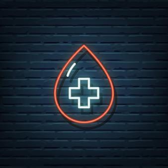 Elementy neonowego znaku oddawania krwi