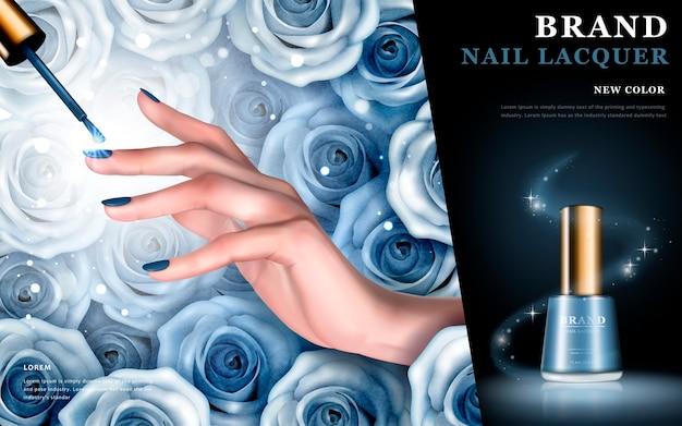 Elementy niebieskiej róży i butelki z lakierem do paznokci
