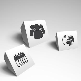 Elementy nowoczesnego biznesu na białym tle