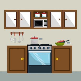 Elementy nowoczesnej sceny kuchennej