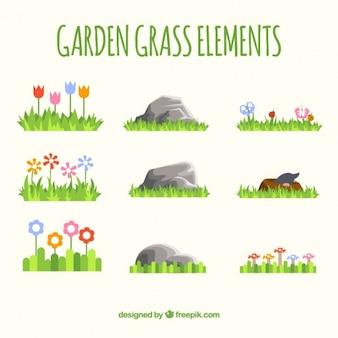 Elementy ogrodowe trawy