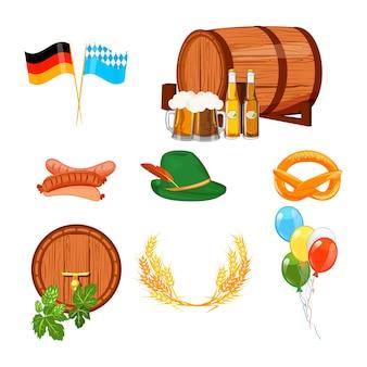 Elementy oktoberfest na białym tle. zestaw niemieckiego projektu bawarskie szkło alkohol festiwal tradycyjnych października.