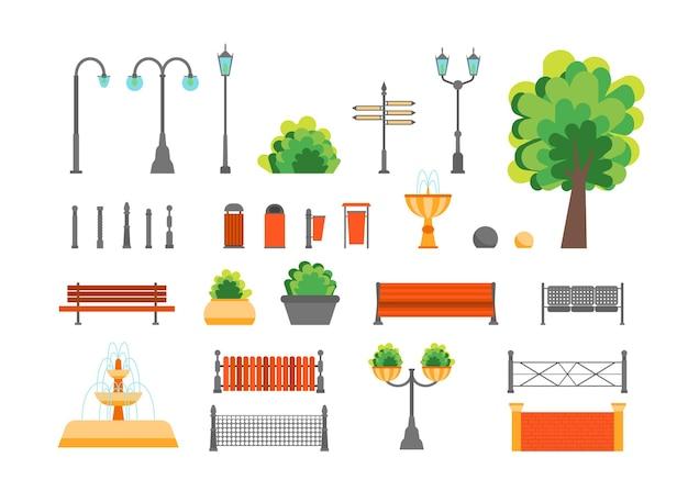 Elementy parku miejskiego w kolorze kreskówki ustawione dla publicznego stylu płaskiej konstrukcji design