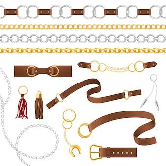 Elementy pasa. metalowe łańcuszki, wisior i warkocz, skórzane paski z klamrą, pasek kobiece akcesoria izolowany zestaw akcesoriów wektorowych