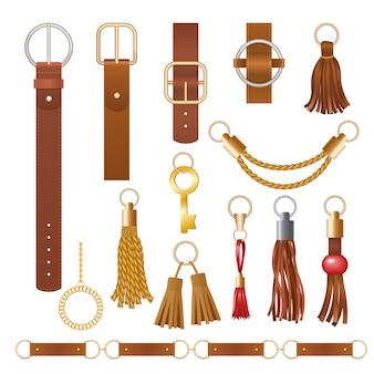 Elementy paska. modne skórzane łańcuchy meble z tkaniny elegancka biżuteria do kolekcji ubrań