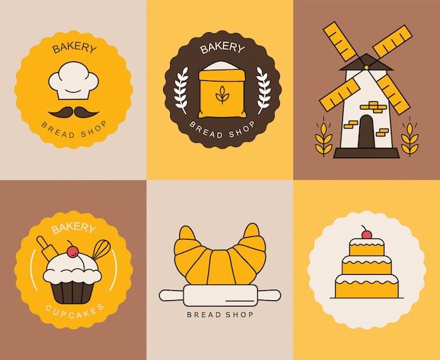 Elementy piekarni, na białym tle kolorowe loga, słodycze, chleb, ciastko, kolekcja herbatników kolorowe logo